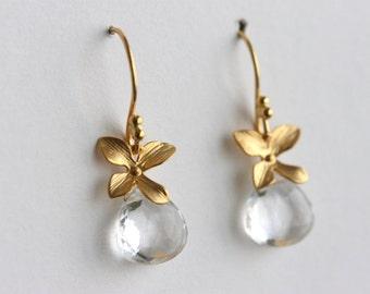 Clear Quartz Earrings, Gold Flower Earrings, Rock Crystal, Spring Jewelry