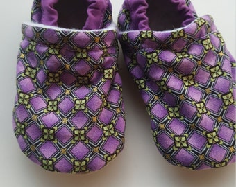 Purple, green, gold, keltic, Moccasins, baby crib shoes, soft sole