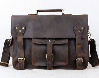Leather Messenger Bag Laptop briefcase Satchel Overnight Weekender Crossbody Bag Mens Womens 17 16 15 14 13 inch RH7
