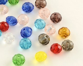 200pcs 4mm Faceted Glass Abacus Beads Assorted Colors (B4d)