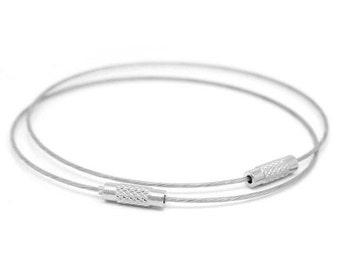 Silver Tone Steel Wire Memory Wire Cord Bracelets W/ Screw Clasp (B17b3/B112e/393c)