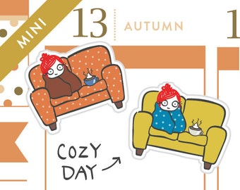P008-Cozy couch planner stickers, snuggle stickers, sick day stickers, coffee stickers, hot chocolate, rainy day, 20 stickers, MINI size