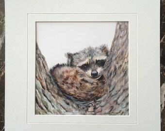 Raccoon original acrylic painting, raccoon painting, raccoon art, forest animal art, cute woodland critters, nature decor, kiddies decor