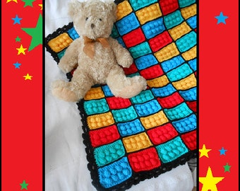 READY TO SHIP Crochet Lego Baby Blanket For Your Cot, Crib, Nursery, Stroller, Pram, Car Or Tummy Time, Red, Blue, Yellow, Green , Black