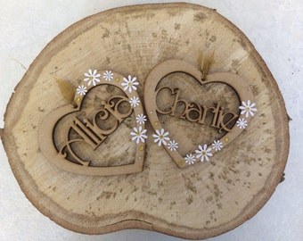 Personalised hearts for your wedding wish tree decorated with flowers and crystals