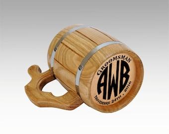 Personalized Groomsmen gift, Groomsman Wooden Beer Mug, Groomsman Mug,Personalized Best Man Gift,Grooms Gift,Wedding Gift, Tankard, Monogram