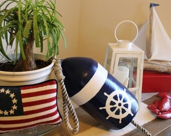 Hand Painted Buoy, Decrotive Buoy, Buoy Decor,Beach Gifts,Nautical Buoy,Beach House,Coastal Home,Upcycled Nautical,Captains Wheel,Beach Barn