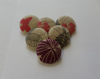 Fabric Covered Buttons, Shank Buttons, Beige Buttons, with Flowers and Butterflies, Patterned Buttons, 31mm, Large Buttons, Pretty Buttons