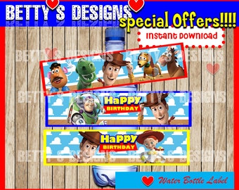 Toy Story  Water Bottle Label instant download, Printable Toy Story Water Bottle Label, Toy Story Water Label