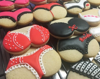 Lingerie, Bachelorette, Valentine, Naughty party theme Sugar cookies. Order is for two dozen (24) sugar cookies