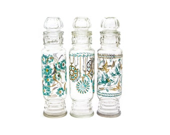 Turquoise and Gold Glass, Georges Briard, Apothecary Jars, Set of Three Jars with Lids