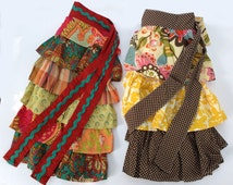Handmade Boho Aprons / Cool Vintage Type Fabric & Design / Your CHOICE / 2 available / Ruffled 1/2 Apron