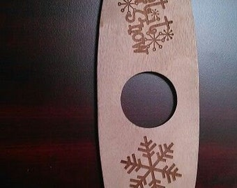 """Let it Snow, Snowflake Wood EngravedWine Holder Centerpiece """"Two's s Party"""""""