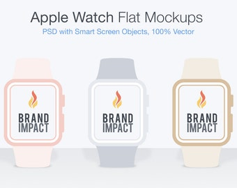 PSD Apple Watch Mockup, Flat Design, Wearable Screen Design, Watch Mockup, Apple Mockup