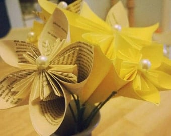 Yellow and book pages Kusudama  flowers  bouquet