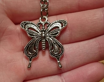 Antique Silver Tone Butterfly Necklace