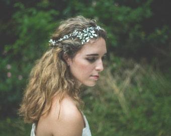Crystal Bridal Headband, Floral Wedding Headpiece, Flower Tiara, Wedding Head Piece, Wedding Headpiece, Hair Accessory, Wedding Accessories