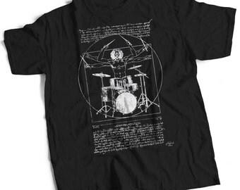 Leonardo Vitruvian Drummer T Shirt Ideal Band T Shirt or Drummer Gift Leonardo Drummer T Shirt Drum T Shirt Drumming Gift Drummer Shirt