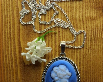Romantic, Silver Necklace with Blue Cameo Pendant