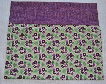 40s Purple Floral Pillow Case
