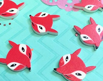 Wooden Smiling Fox Cabochons