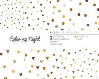 80% OFF SALE Digital Paper Brown 'Pack02' Gold Glitter & Brown Confetti Backgrounds for Scrapbook, Party Invitations, Crafts...