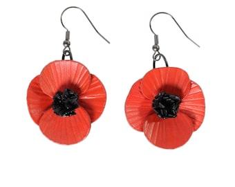 Hanging flower poppy leather earrings