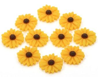 Resin Flowers, Flower Flatbacks, Flower Applique, Flower Embellishments, Large Sunflowers, Yellow Flowers, Daisy Flatbacks, Yellow Flatbacks