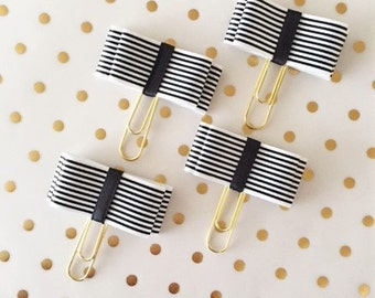 Classic Black and White Striped Bow