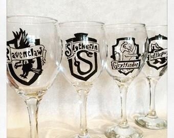 Harry Potter House Crest Wine Glasses