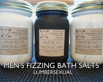 Men's Fizzing Bath Salts | 10.5 oz | Organic Effervescent Wood/Smoke/Musk-Scented Moisturizing/Nourishing Black Dead Sea Bath Salts/Soak