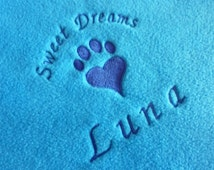 Personalised Cat Bed Blanket in Bright Blue with Embroidered Pawprint Heart and Any Name. Soft Fleece Bedding for Pets, Cats and Kittens.