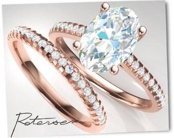 4.5 Carat Rose Gold Wedding Set - Engagement Ring - Wedding Ring - Oval Cut Ring - Rose Gold - Vintage - Cz Ring Diamond Simulant