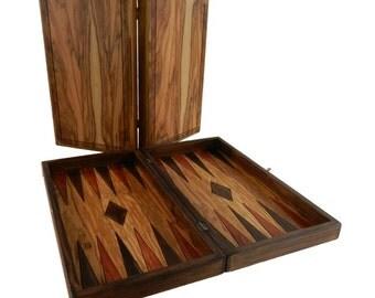 Handmade carved wooden backgammon