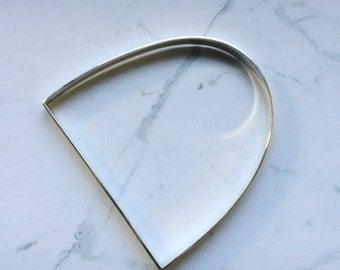 Geometric 'D' shape horseshoe stirrup style bangle bracelet . Minimal, contemporary, simple,