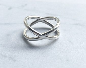Orbit style Crossover ring Sterling Silver, Minimal,