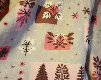 Vintage Mid Century Curtain Panel/ Fabric - Pink and Grey