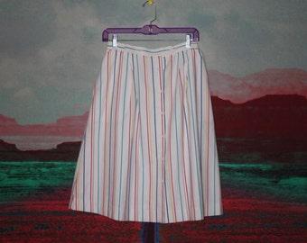 80s Rainbow Pinstripe Skirt
