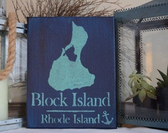 Hand Painted Canvas Sign, custom family sign, Rhode Island, Coastal, Block Island, wedding gift, personalized, beach sign, home sign, chic
