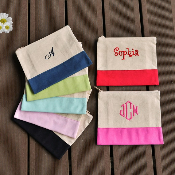 embroidered makeup bag monogrammed cosmetic bag by ...