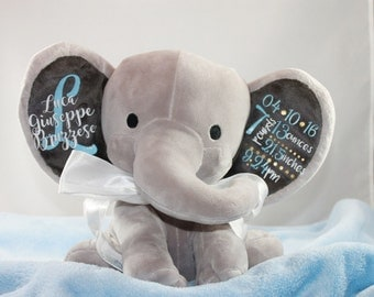 Personalized Birth Announcement Elephant Boy or Girl