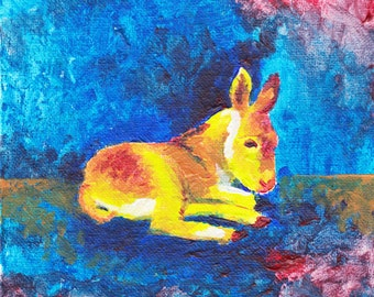 Yellow baby burro on blue handmade original acrylic painting nursery art, child room decor, play room art, art for children and babies