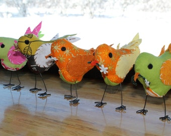 Fabric birds with wire legs