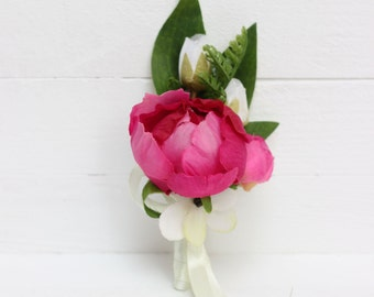 Peony men's boutonniere Wedding boutonniere Groom boutonniere Wedding accessories Groomsmen boutonniere Mens wedding boutonnieres