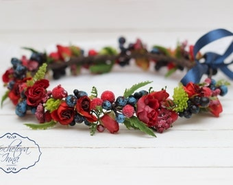 Red and blue floral crown,Flower halo ,Flower headband ,Flower wreath ,Flower crown ,Bridal floral crown