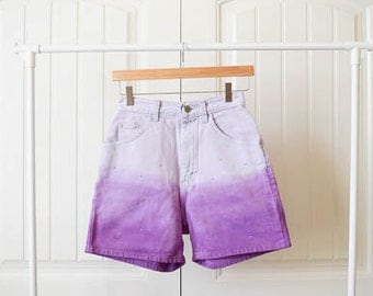 Vintage Lee Riders high waisted shorts purple ombre fade dye with rhinestones reconstructed 25