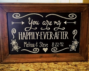 Anniversary chalkboard, you are my happily ever after, wedding chalkboard