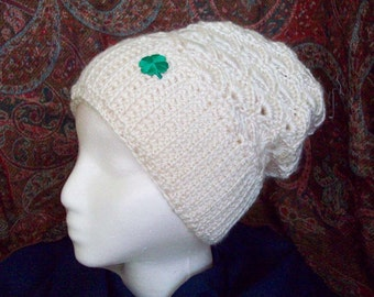 Crochet Hat Beanie Fan Stitch Cream