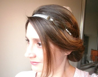 Headband/jewel wedding ivory lace French, retro, vintage and romantic, glass beads and metal bronze.