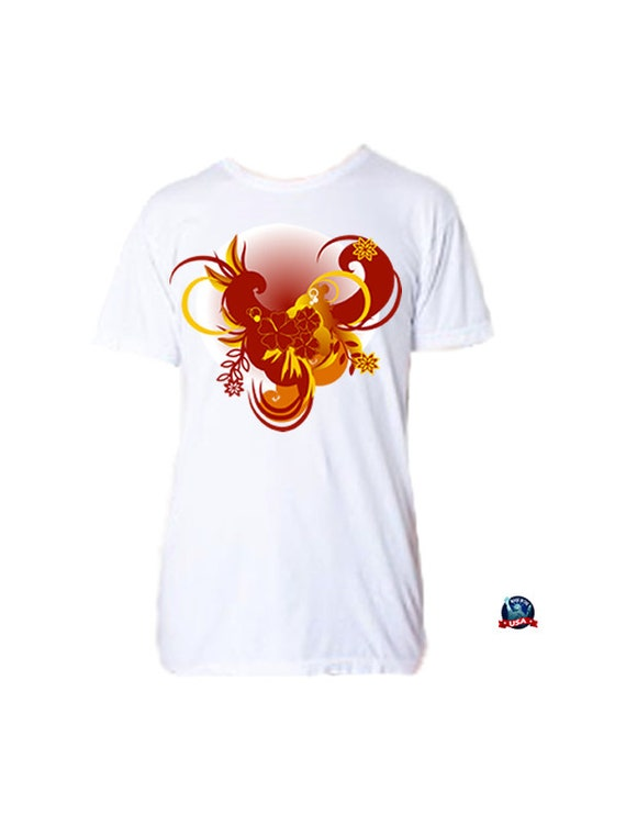 Hibiscus Swirl 100% combed cotton T-shirt derived from a design by artist Katya Trilling.